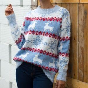 Christmas Elk Snowflower Pullover Sweater